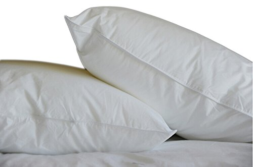 Sanggol® Pair of Luxury Pure White Duck Down and Feather Pillow . Luxurious Medium/Soft Pillow. Wash at Home Pillows. Hypoallergenic, Anti Dust Mite Pillow with Down Proof Cover