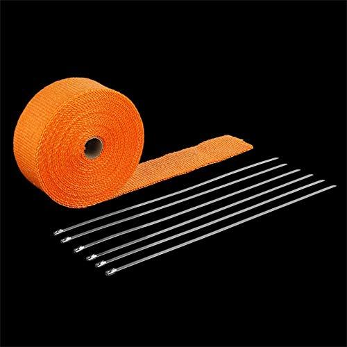 Preisvergleich Produktbild fengwen66 Rollen Sie Fiberglas-Auspuffkrümmer Fiberglas-Hitze-Verpackungsband mit 6 Krawatten-Installationssatz Orange 1.5mm * 50mm * 10m