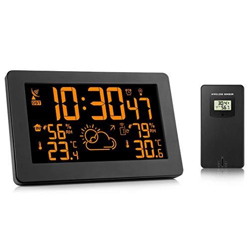 Estación meteorológica reloj meteorológica inalámbrica, temperatura y humedad pantalla interior/exterior...