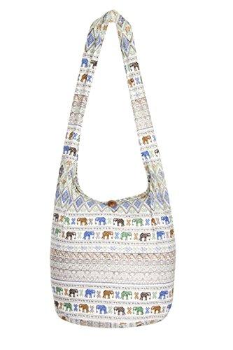 Borsa stile Thai, motivo: elefanti,100% cotone, ideale per la spiaggia e in viaggio Aztec White L