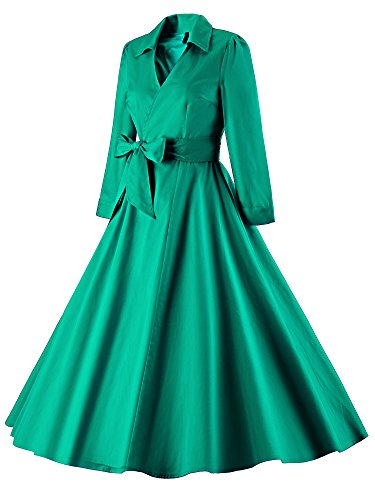 LUOUSE Women Vintage V-Ansatz 3/4 Hülse 50s 60s Rockabilly Pinup Schwingen Partei Abend Kleid mit Gürtel Grün