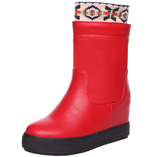 RAZAMAZA Femmes Bottes De Neige Bottines Talon Compense Interieur Hiver red