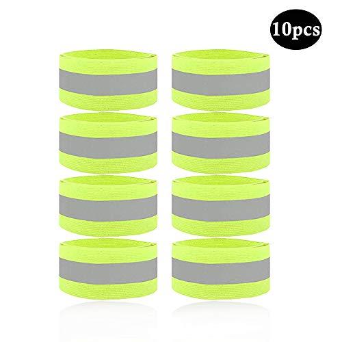 kitchen-dream 8PCS reflektierende Bänder, elastisches neongelbes reflektierendes Armband, Sicherheitsarmband für das Reiten der Kinder