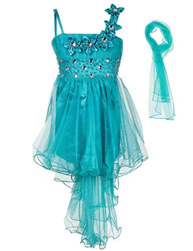 s Mädchen Kleid mit Stola Strass Perlen Blumen Prinzessinnenkleid M534tü Türkis 146 ()