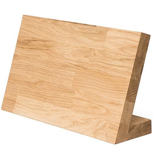 Messerblock Messerhalter magnetisch XXL aus Eiche massiv. Design Messerbrett Holz ohne Messer. Starker Magnet für bis zu 7 Messer. Massivholz Messerleiste Magnethalter platzsparend