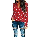 Yvelands Damen Bluse Casual V-Ausschnitt Tops Langarm T Shirt T-Shirt Bluse(CN-L,rot)