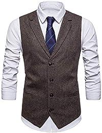 STTLZMC Leisure Gilet Costume Homme Tweed Rétro sans Manches Veste Business Mariage S-XXXL