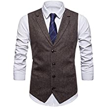 5b0ae6bfc3796 STTLZMC Leisure Gilet Costume Homme Tweed Rétro sans Manches Veste Business  Mariage ...