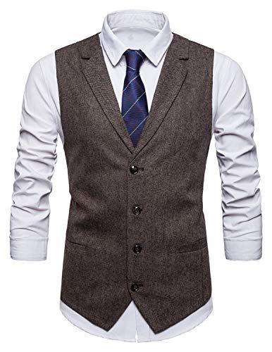 STTLZMC Herren Weste Anzugweste Wolle Tweed Weste Kragenweste 2 Taschen 4 Knöpfe Westen,Braun 2,L