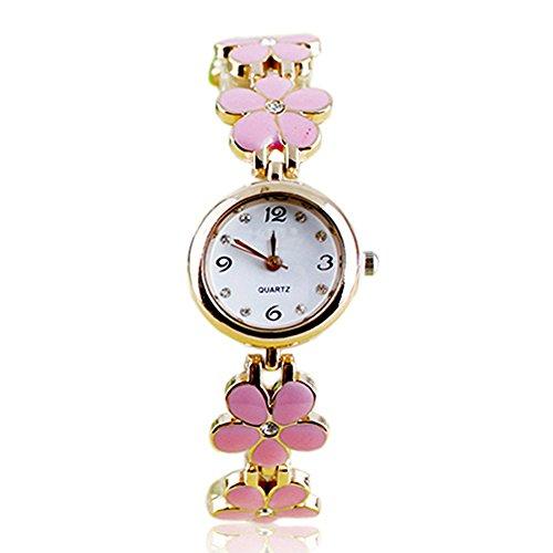 Lvpai donna margherita fiore bracciale in lega analogico al quarzo Orologio da polso-rosa