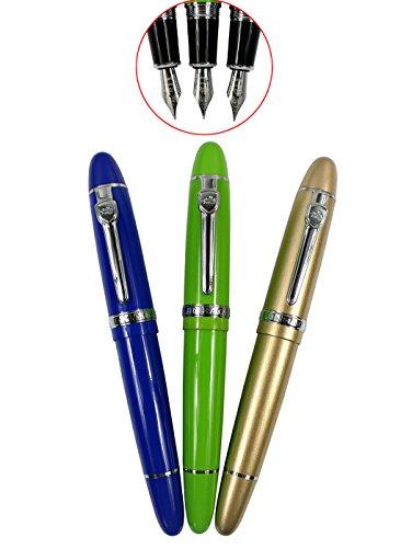 3 Stück 159 Füllfederhalter, Schwere Große Medium Point Füllfederhalter Mit Silbernen Clip (Blau, Grün, Gold)
