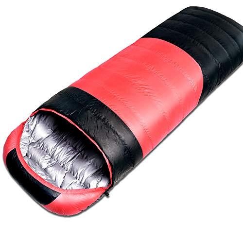 Alxdr sacco a pelo per backpacking leggero e impermeabile per il clima caldo e freddo, comfort per 4 stagioni,red,1500