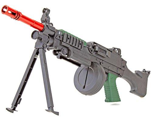Nerd Clear Softair-Gewehr Zweibein Tragegurt Trommel Schütt-Magazin Federdruck Soft-Air schwarz 6 mm unter 0,5 Joule -