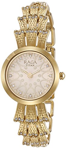 Titan Women's 'Raga Aurora' Quartz Stainless Steel and Brass Casual Watch, Color Gold-Toned (Model: 95044YM01)