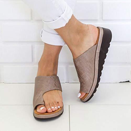 YYAMO Sandalias de Mujer PU Zapatos de Cuero Plataforma cómoda Suela Plana Señoras Casual Suave Dedo...