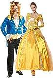 Herren & Damen Paar Disney Biest & gelbgolden Prinzessin Halloween Buch Tag Woche Verkleidung Kleid Verkleidung Outfit - Multi, Ladies 12-14 Mens XL