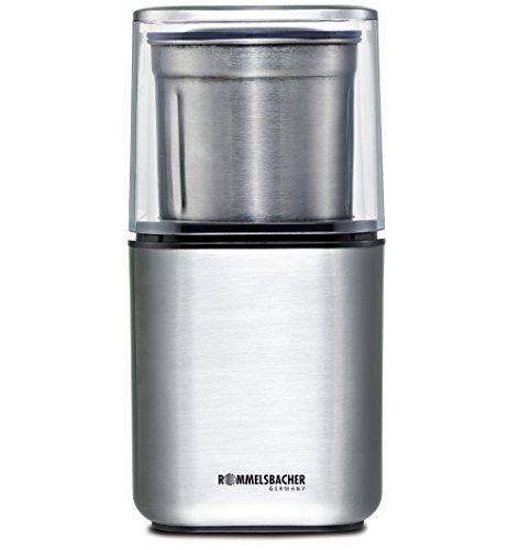 ROMMELSBACHER EGK 200 elektrische Gewürz & Kaffeemühle / 2 auswechselbare Edelstahlbehälter mit Schlagmesser & Spezialmesser / 200 W / Edelstahl
