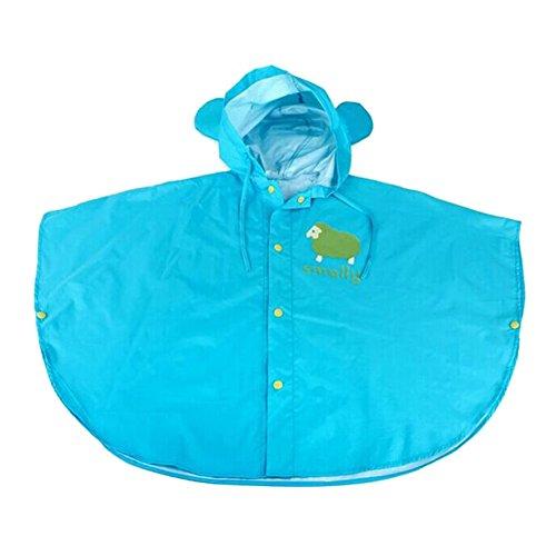 Unisex bambini slim mantello impermeabile giacca antipioggia poncho con cappuccio mantella pioggia blu/s