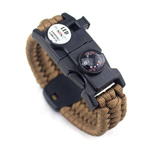 Aiming Männer Frauen Geflochtene überleben Armband LED-Licht Paracord Armband Camping Rettungsseil Zahnradsatz mit Pfeife-Kompass-Feuer-Starter Braun - Verlust Starter Kit