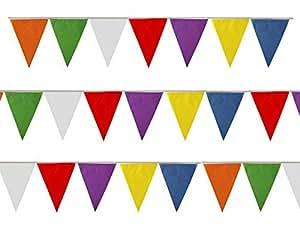 25Triangle Drapeaux Décoration Multi Couleur de fanions double face 7m de long en PVC Multicolore Party été Fete école Arc-en-ciel fanions 7couleurs différentes
