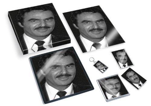 burt-reynolds-original-art-gift-set-js001-includes-a4-canvas-a4-print-coaster-fridge-magnet-keyring-