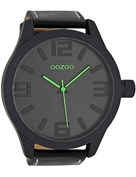 Oozoo Herrenuhr mit Lederband 51 MM Schwarz/Schwarz C7114