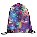 Roue Unisex Galaxy Print Print Drawstring Backpack Rucksack Shoulder Bags Gym Bag Sport Bag