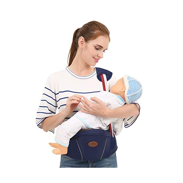 SONARIN Multifunctional Hipseat Baby Carrier,Free Size,Toddler Hip Seat Carrier,Front Carrier Belt,4 Carrying Positions,Adapted to Your Child's Growing,Ideal Gift(Dark Blue) SONARIN Applicable age and Weight:0-36 months of baby, the maximum load: 20KG, and adjustable the waist size can be up to 45.3 inches (about 115cm). Material:designers carefully selected comfortable and cool polyester fabric, light, tear-resistant, breathable,Inner pad : EPP Foam,safe and no deformation. Description:Sturdy buckle and inner soft padded ensuring baby safety and parent's comfort.It takes 1 second to put on.Nothing is more convenient.Side with small pockets, in order to store handkerchiefs, wallets and mobile phones and other small items. 2