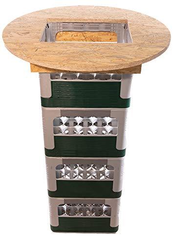 Hermesmöbel Bierkastentischaufsatz BKTA70OSB Sauerland OSB-Platte Bierkasten Stehtisch Partytisch Bistrotisch Tischaufsatz Kistenhalter für Partys Ø 70 cm