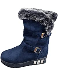 Zapatos por ESAILQ Botas de Nieve Para Mujer Botas de Nieve Blanda con Punta Redonda Botas de Tobillo con Piel de Invierno Por ESAILQ