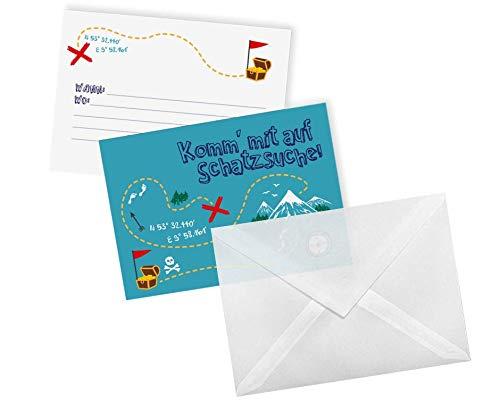 Ideenverlag 12 Schatzjäger Einladungskarten + Umschläge - Set für Kindergeburtstag / Geburtstag / Party / Mottofeier / Einladung / Karten / Grußkarten / Partyeinladungen / Jungen / Mädchen