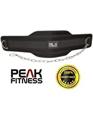 Peak Fitness - Ceinture pour dips de haute qualité et au superbe design. Testée jusqu'à 40 kg. Parfaite pour dips et tractions
