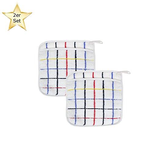 Casa colori - confezione da 2 presine 20 x 20 cm in 100% cotone con tasca, ideali anche come guanto da forno, bianco a quadri