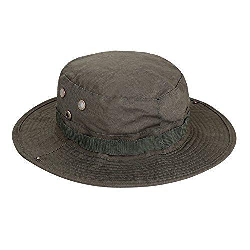 Cap Cowboys Camo (wdoit Polyester Baumwolle Sommer Sonnenschutz atmungsaktiv verstaubarer Boonie Hat für Jungle Angeln Freizeit Outdoor Bergsteiger Seil Adjustalbe Cowboy rund Krempe Kappe für Damen Herren (dunkelgrün))