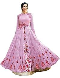 Kings Fashion Bazaar Women Georgette Bollywood Designer Semi-Stitched Salwar Suit (GATMPU11051_Pink_Free Size)