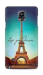Amez designer printed 3d premium high quality back case cover for Samsung Galaxy Note 4 (Live Your Dream Paris Eiffel Tower)