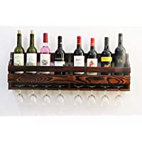 JRLinco Wood Wine Rack,Wine Glass & Wine Bottle Display Rack,Pine Wood,Wall Mounte,8 Bottle 8 Long Stem Glass Holder (Charcoal Walnut Color, 8 Bottle =80CM)