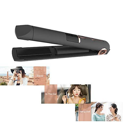 Tragbare Wiederaufladbare LED-Anzeige Cordless Keramikbeschichtungsplatte USB Powered Hair Straightener,Black -