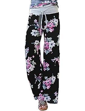 Pantalón Largo Mujer Floral Casual Yoga Daily Palazzo Salon Amplio Piernas
