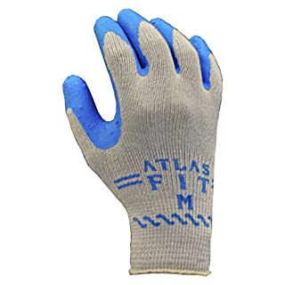 Best Glove 300L-09 ATLAS FIT Rubber Palm Coating Glove, Large, Gray with Blue Coating (Pack of 144)