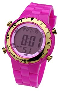 Pineapple Ladies Digital Watch with LCD Dial Digital Display and Pink Plastic or Pu Strap CF11.15PI