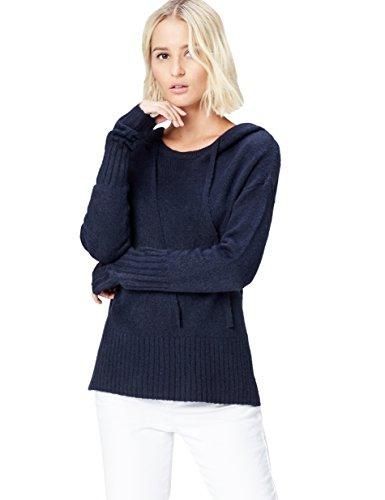 FIND Damen Strickpullover mit Kapuze, Blau (Navy Marl), 36 (Herstellergröße: Small)