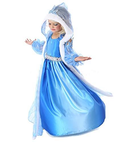 AniKigu Mädchen Prinzessin Cosplay Kostüm Glänzendes Blau Kleid mit Umhang Halloween Kostüm 2-8 Jahre Alt