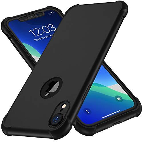ORETECH Coque iPhone XR, Coque iPhone XR avec [2 x Protecteur D'écran en Verre Trempé] 360°Housse Hybride Robuste 2 en 1 Antichoc Ultra Mince Mat Anti-Rayures PC+TPU Etui pour iPhone XR Case-Noir
