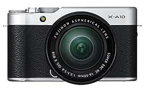 Fujifilm X-A10 Fotocamera Digitale con Obiettivo XC16-50 MM F3.5-5.6 OIS II, 16 MP, Sensore CMOS APS-C, Ottiche Intercambiabili, Argento/Nero