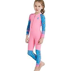GWELL Jugnen Mädchen Kinder Tauchanzug Langarm Schnelltrocknend Nassanzug Badeanzug Einteiler Wetsuit mit UV-Schutz für Wassersport Rosa S