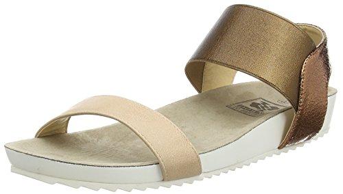 Spot on Elastic Strap Footbed Damen Sandalen Brown (Bronze)