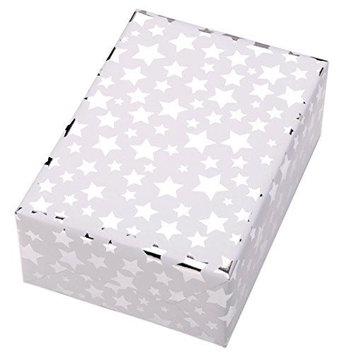 Geschenkpapier Rolle 50 cm x 50 m, Motiv Diadem, Hochglänzend silberne Sterne leuchten aus dem mattweißen Fond. Für Weihnachten, Geburtstag.