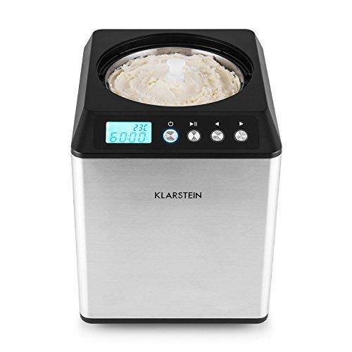 Klarstein Vanilly Sky Multi Edition • Máquina de helados • Yogurtera • Heladera • Pantalla LED Digital • 250 W • Capacidad de 2,5 litros de helado • Temporizador • Vaso medidor • Plata