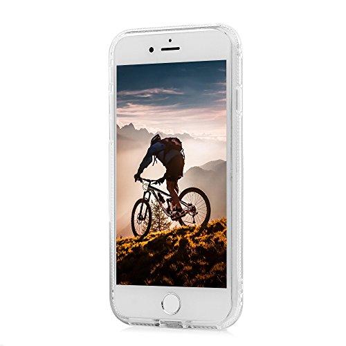 MAXFE.CO Coque Etui Protection iPhone 7 en PC + TPU Sable Découlée Housse Antichoc Case Cover Accessoire Coques pour iPhone 7 - Campanule Orange Glace